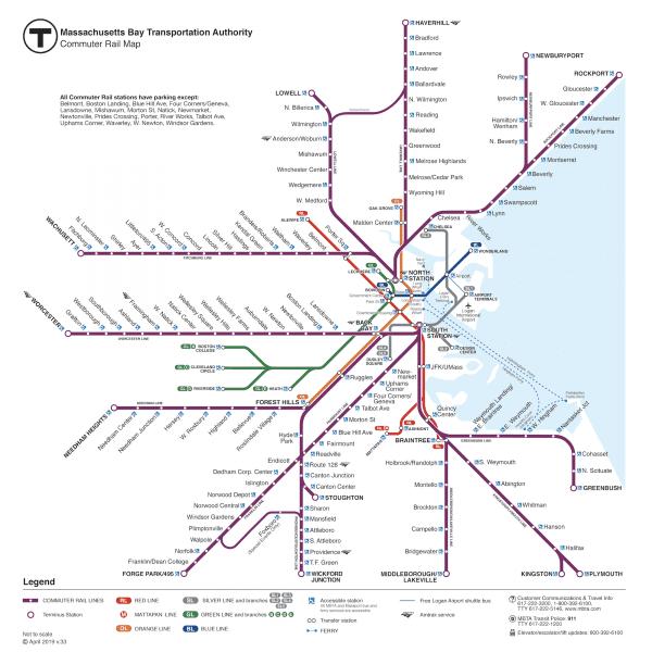 בוסטון - מפת רכבת