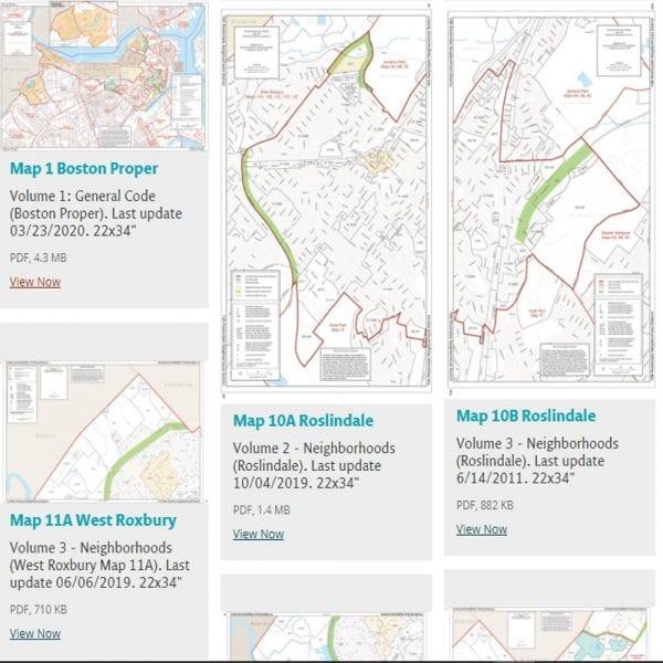 תוכניות בניה של השכונות השונות בבוסטון